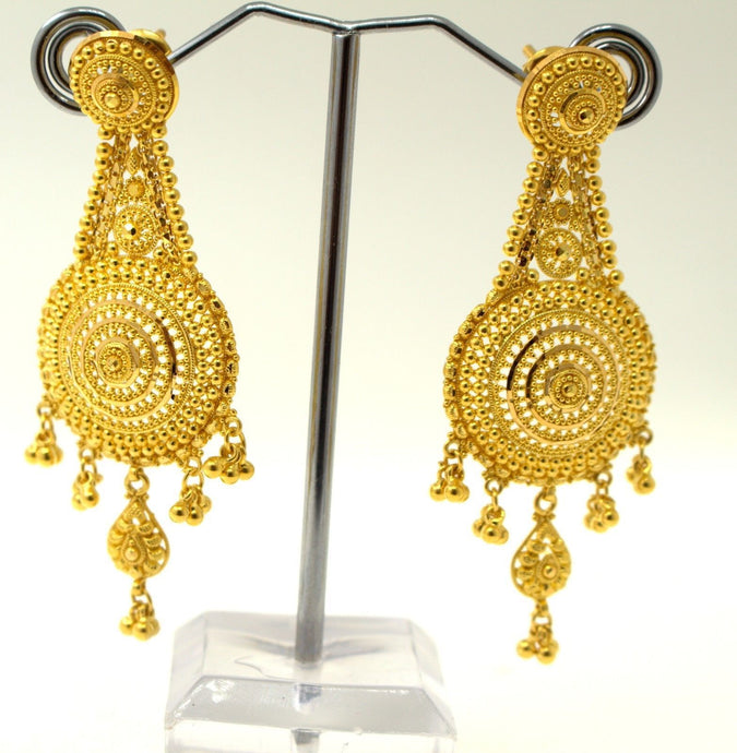 22k 22ct Solid Gold ELEGANT LONG HANGING ROUND Modern Earrings e5437