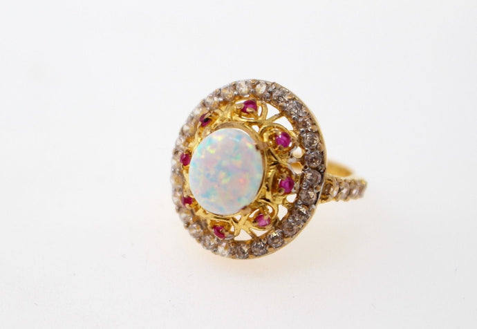 22k 22ct Solid Gold ELEGANT Antique Ladies Stone Ring SIZE 5.0
