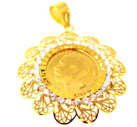 22k 22ct Solid Gold ELEGANT King George LOCKET Pendant with Stones Design P1339