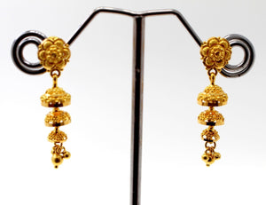 22k 22ct Jewelry Solid Gold ELEGANT LONG JHUMKE DANGLING Earring e5807 | Royal Dubai Jewellers