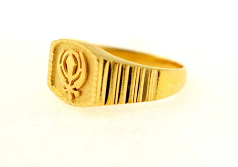 22k 22ct Solid Gold sikhi sikh khanda square shape men ring band R1355