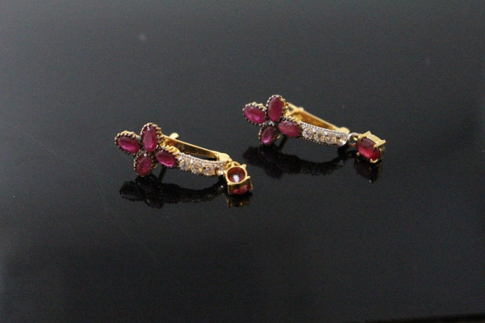 22k 22ct Solid Gold ELEGANT ZIRCONIA CLIP ONS NATURAL RUBY STONE Earring e5814