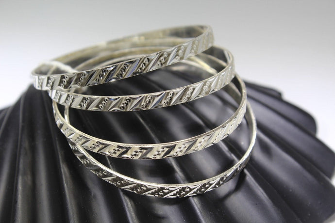 4PC HANDMADE women b127 Solid Sterling Silver 925 size 2.25 inch kara Bangle