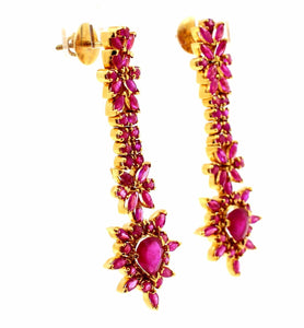 22k 22ct Solid Gold ELEGANT Earring Modern Natural Ruby Stone Design e5150