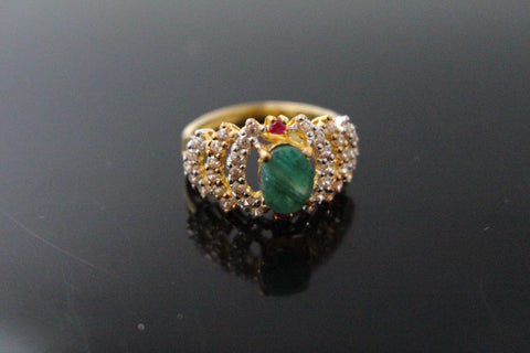 "22k 22ct Solid Gold ELEGANT Antique Ladies Stone Ring SIZE 7.5 ""RESIZABLE"" r1549"