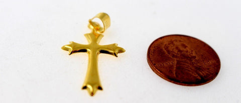 22k 22ct Solid Gold Christian Cross Pendant Charm Locket p1275