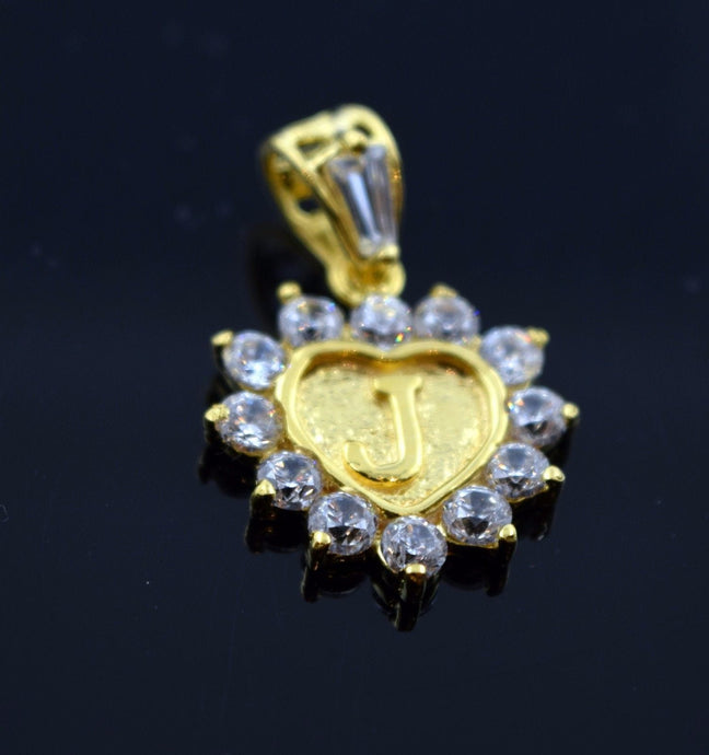 22k 22ct Solid Gold Heart Shape Pendent J letter pj3