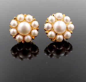 22k 22ct Solid Gold ELEGANT Charm Earring Floral Design with Pearl e5154 - Royal Dubai Jewellers