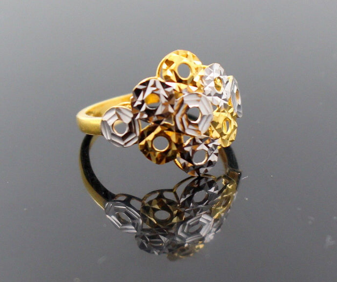 22k 22ct Solid Gold BEAUTIFUL RHODIUM DESIGNER RING Size 8.0 RESIZABLE R1271