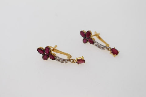 22k 22ct Solid Gold ELEGANT ZIRCONIA CLIP ONS NATURAL RUBY STONE Earring e5814 | Royal Dubai Jewellers