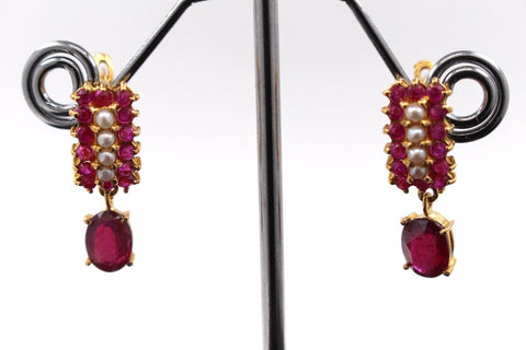22k Jewelry Solid Gold ELEGANT Ruby and Pearl Stone Earrings e2155
