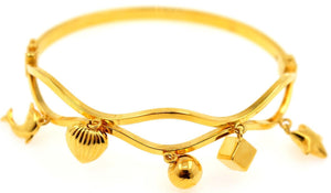 21k 21ct Gold BEAUTIFUL LADIES Charm 1 PC LOCK BANGLE BRACELET B839
