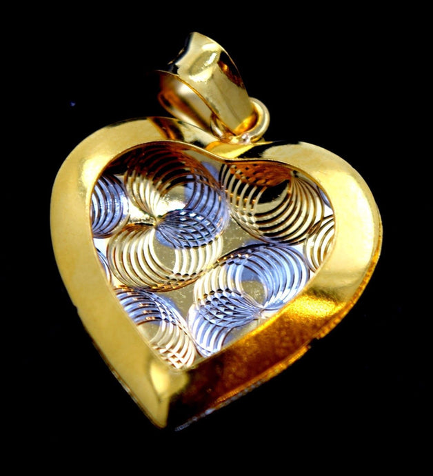 22k Solid Gold ELEGANT Heart Shape Pendant Set EARRINGS Modern Design s98