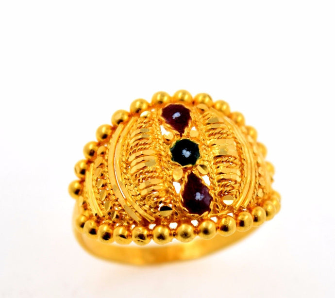 22k 22ct Solid Gold BEAUTIFUL DESIGNER ENAMEL WOMEN Ring RESIZABLE size8.6 r769