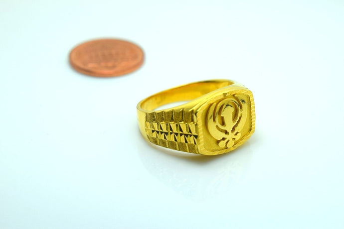 22k Solid Gold ELEGANT SIKHI KHANDA MEN Religious Ring