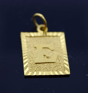22k 22ct Solid Gold Square Shape Pendent E letter pe6