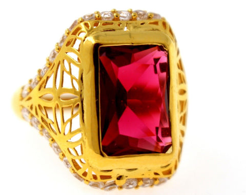 "21k 21ct GOLD ELEGANT RED STONE DESIGNER LADIES RING SIZE 8 ""RESIZEABLE"" R1570 