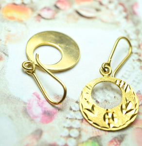 22k Solid Gold ELEGANT ROUND HOOK EARRINGS DANGLING E281