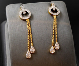 22k 22ct Solid Gold elegant long hanging zirconia clusters earrings studs e5454