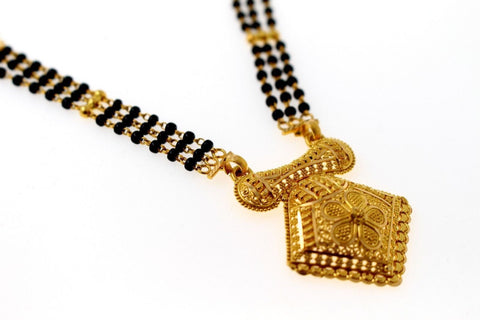 "22k 22ct Yellow Gold MODERN MANGALSUTRA BLACK BEADS Long PENDANT Chain 24"" c819 