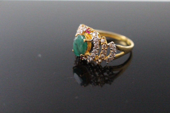 22k 22ct Solid Gold ELEGANT Antique Ladies Stone Ring SIZE 7.5