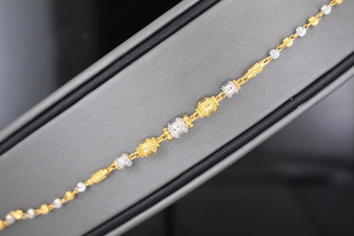 22k 22ct Solid Gold ELEGANT Ladies CHARM Two Tone Ball Bracelet B663 | Royal Dubai Jewellers