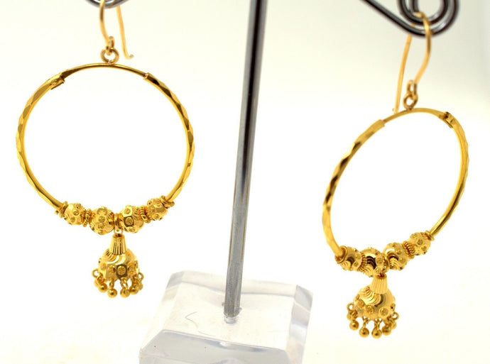22k 22ct Jewelry Solid Gold ELEGANT LONG JHUMKI DANGLING HOOP Earring e5427