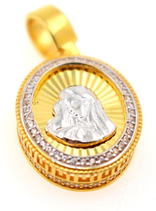 21k 21ct Solid Gold Mary Christian Religious Zirconia Pendent P1314