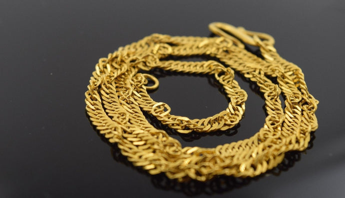 22k Yellow Solid Gold ROPE Chain Necklace 2.3mm c141 white diamond cut box