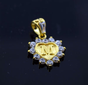 22k 22ct Solid Gold Heart Shape Pendent M letter pm4 | Royal Dubai Jewellers