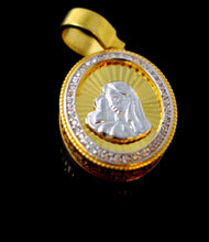 21k 21ct Solid Gold Mary Christian Religious Zirconia Pendent P1314 | Royal Dubai Jewellers