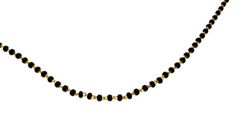 22k 22ct Gold Yellow BLACK beads STONE CHAIN ADJUST LENGHT c766