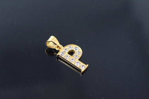 "22k 22ct Solid Gold ""P"" Symbol letter Charm Pendant with Stones p802"