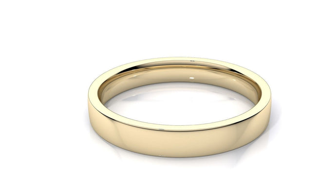 18k Solid Gold 3mm Comfort Fit Wedding Flat Band in 18k Yellow Gold