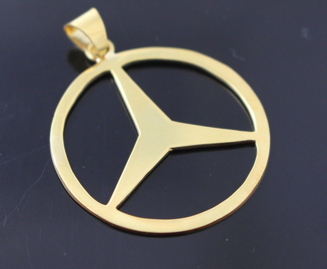 22k 22ct Solid Gold ROUND Mercedez Pendant Emblem DESIGN p824 | Royal Dubai Jewellers