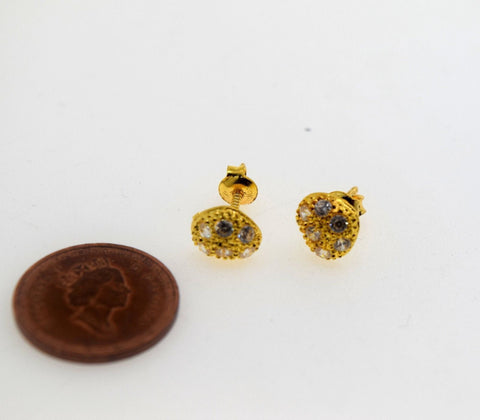 22k Solid Gold ELEGANT STUD SCREW BACK EARRINGS Unique Heart Design E782