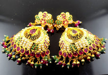22k Solid Gold LONG EARRINGS DANGLING Chandeliers Ruby Pearl Emerald E625 | Royal Dubai Jewellers