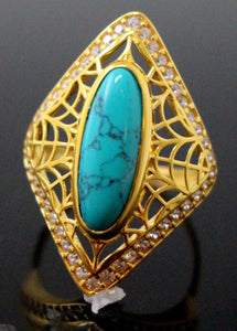 21k 21ct GOLD ELEGANT TURQUOISE STONE DESIGNER LADIES RING SIZE 8.5 R1560