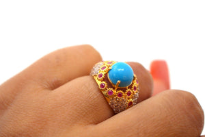 "22k 22ct Solid Gold ELEGANT Antique Ladies Stone Ring SIZE 5.0 ""RESIZABLE"" r1536"