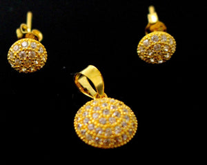 22k 22ct Solid Gold ELEGANT Round PENDANT SET ZIRCONIA Design P1332