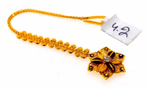 22k 22ct Yellow SOLID Gold SMALL FLOWER STONE MANG TIKKA TIKA WOMAN T18