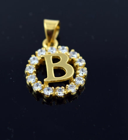 22k Solid Gold Round Shape Pendent B letter p311
