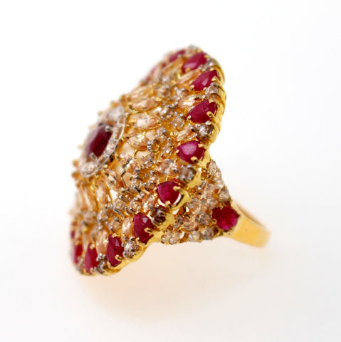 "22k 22ct Solid Gold ELEGANT Antique Ladies Stone Ring SIZE 7.5 ""RESIZABLE"" r1515"