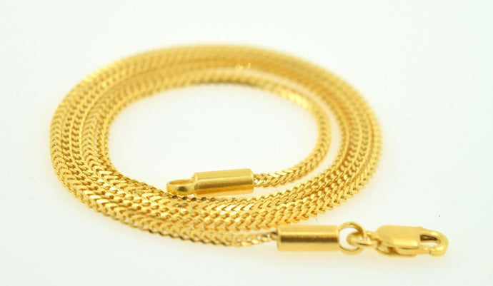 22k Yellow Solid Gold Chain rope Necklace 1.5 mm C6 with white diamond cut box