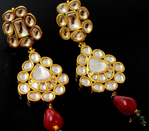 22k 22ct Solid Gold ELEGANT EARRING KUNDAN RUBY STONE Floral Dangle Design E5579 | Royal Dubai Jewellers