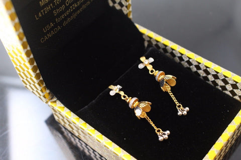 22k 22ct Solid Gold ELEGANT EARRINGS Floral Dangle Design Two Tone E5071