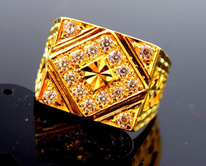 "22k Solid Gold ELEGANT MEN Ring Retangular Design ""RESIZABLE"" R522"