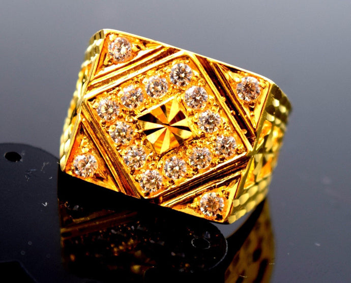 22k Solid Gold ELEGANT MEN Ring Retangular Design
