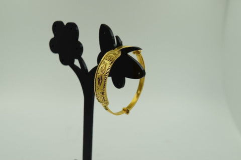 "22k Solid Gold ELEGANT PLAIN BABY CHILDREN BANGLE BRACELET ""ADJUSTABLE b298"