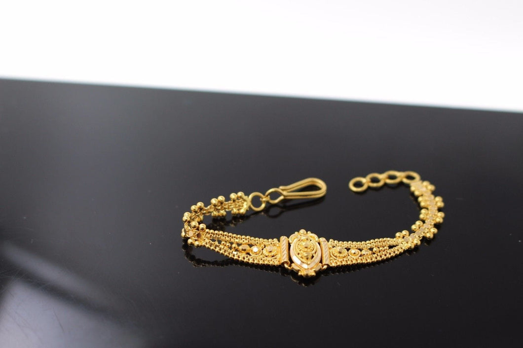 22k Jewelry Solid Gold ELEGANT Charm Kids Bracelet Unique Design 5 inch cb1004 | Royal Dubai Jewellers